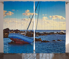Deniz ve Yat Manzaralı Fon Perde Mavi Kaya Gökyüzü