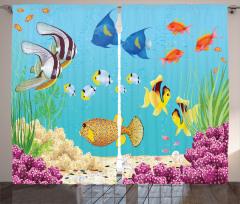 Su Altı Temalı Fon Perde Rengarenk Balık Desenli