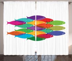 Rengarenk Balık Temalı Fon Perde Kırmızı Yeşil