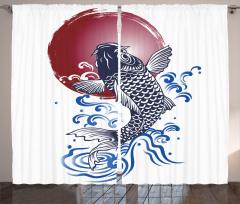 Japon Balığı Desenli Fon Perde Lacivert Bordo Şık