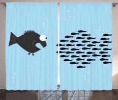 Balık Desenli Fon Perde Mavi Siyah Şık Tasarım