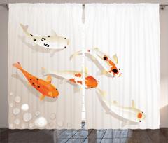 Kutsal Balık Desenli Fon Perde Turuncu Krem Şık