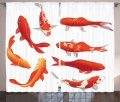 Kırmızı Balık Desenli Fon Perde Şık Turuncu Beyaz
