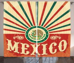 Meksika Bayrağı Desenli Fon Perde Kırmızı Yeşil
