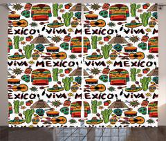 Meksika Gitar ve Kaktüs Fon Perde Şık