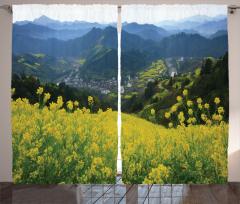 Sarı Çiçek ve Yeşil Dağ Fon Perde Dekoratif