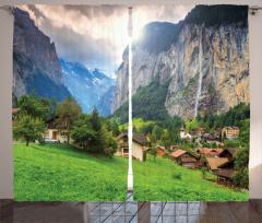 Yeşil Köy Dağ ve Güneş Fon Perde Dekoratif