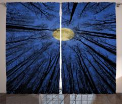 Ağaç ve Dolunay Fon Perde Şık Tasarım