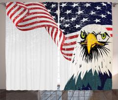 ABD Bayrağı ve Kartal Fon Perde Kırmızı