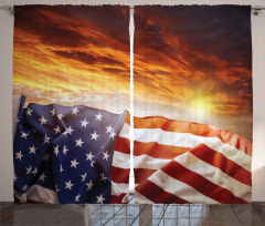 ABD Bayrağı Temalı Fon Perde Sarı Turuncu Gökyüzü