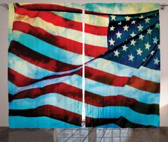 Dalgalanan ABD Bayrağı Fon Perde Dekoratif