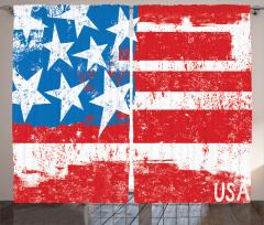 ABD Bayrağı Desenli Fon Perde Şık Kırmızı Mavi