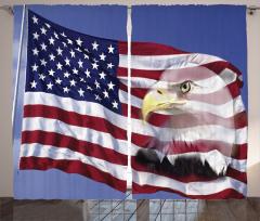Kartal ve ABD Bayrağı Fon Perde Bordo Mavi