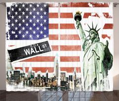 ABD Bayrağı ve New York Fon Perde Kırmızı