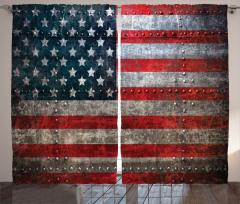 ABD Bayrağı Temalı Fon Perde Şık Metal Efektli