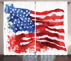 Sulu Boya ABD Bayrağı Fon Perde Kırmızı