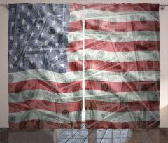 Dolar ve ABD Bayrağı Fon Perde Dekoratif