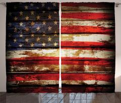 ABD Bayrağı Desenli Fon Perde Eskitme Ahşap Fon