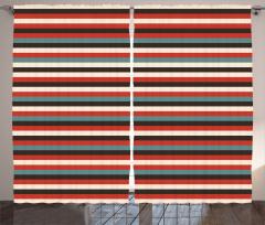 Geometrik Desenli Fon Perde Kırmızı Çizgili Şık