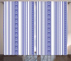 Çapa Desenli Fon Perde Mavi Beyaz Çapa Şık Tasarım