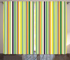 Boyuna Çizgili Fon Perde Sarı Yeşil Turuncu Çizgili Şık Tasarım