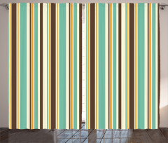 Yeşil Retro Çizgili Fon Perde Yeşil Kahverengi Çizgili Şık Tasarım