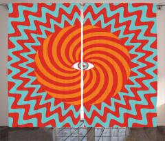 Hipnotize Edici Fon Perde Kırmızı Turuncu Mavi
