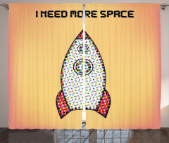 Retro Roket Posteri Fon Perde Turuncu Şık
