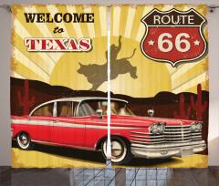 Kırmızı Araba Desenli Fon Perde Retro Poster Sarı