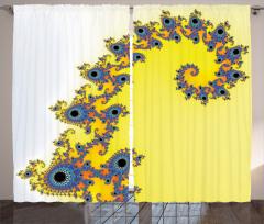 Denizatı Desenli Fon Perde Sarı Mavi Şık Tasarım