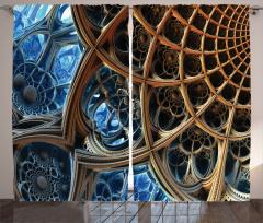 Fraktal Tasarımlı Fon Perde Kahverengi Mavi 3D