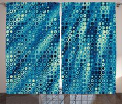 Nokta Desenli Fon Perde Mavi Fraktal Şık Tasarım
