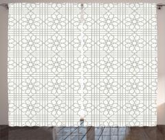 Geometrik Çiçek Desenli Fon Perde Etnik Gri Şık