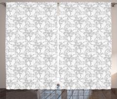 Çiçek ve Yaprak Desenli Fon Perde Gri Beyaz Şık