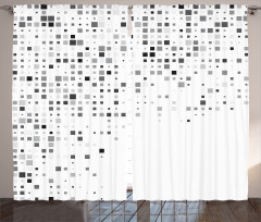 Kare Desenli Fon Perde Geometrik Gri Beyaz Şık