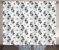Yaprak Desenli Fon Perde Gri Beyaz Şık Tasarım