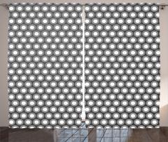 Daire Desenli Fon Perde Gri Geometrik Şık Tasarım
