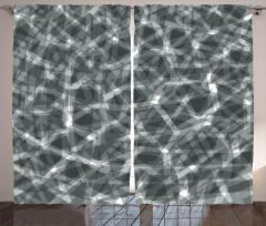 Geometrik Gri Desenli Fon Perde Beyaz Şık Tasarım