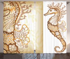 Denizatı Desenli Fon Perde Kahverengi Dekoratif