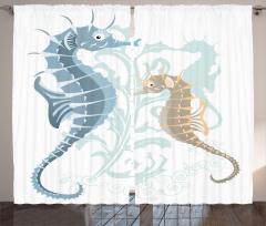 Mavi Denizatı Desenli Fon Perde Dekoratif Şık