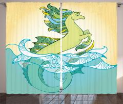 Dört Nala Denizatı Fon Perde Dekoratif Şık