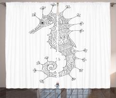Siyah Beyaz Denizatı Fon Perde Dekoratif Şık