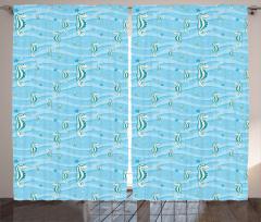 Mavi Denizatı Desenli Fon Perde Yıldız Dekoratif
