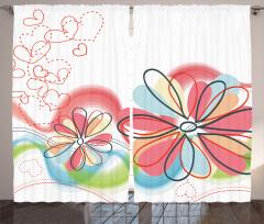 Çiçek ve Kalp Desenli Fon Perde Pembe Çeyizlik Şık