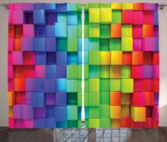 Rengarenk Küp Desenli Fon Perde Geometrik Şık