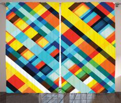 Çizgili Desenli Fon Perde Rengarenk Geometrik Şık