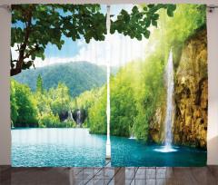 Şelale ve Doğa Temalı Fon Perde Yeşil Mavi