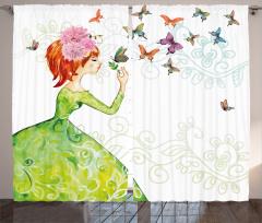 Kelebek ve Kız Desenli Fon Perde Yeşil Şık Tasarım