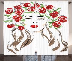 Çiçekli Kız Desenli Fon Perde Kırmızı Siyah Şık
