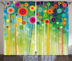 Rengarenk Çiçekler Fon Perde Geometrik Dekoratif
